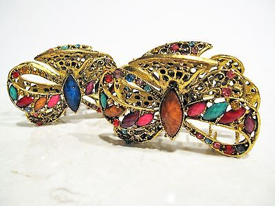 Large jeweled antique style bronze metal bow shaped hair claw clips with crystal