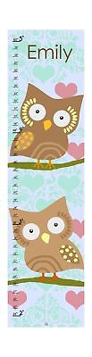 Green Leaf Art Growth Chart Personalized Owls and Hearts