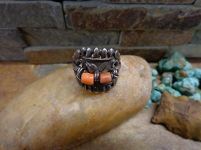 Rare Chinese Export Sterling Sandcast Coral Butterfly Ring Navajo Old Pawn Style