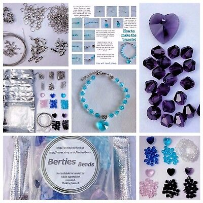 Jewellery Making Kit to make 5 bracelets instructions plus 5 organza bags