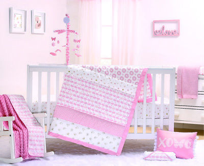Peanut Shell Sweet Swan 3-Piece Cot Bedding Set - Coral/White
