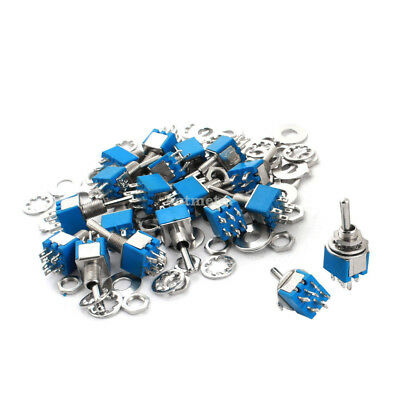 H● 20 Pcs AC 125V 3A 6mm Panel Mount Dia DPDT ON/ON Locking Toggle Switch