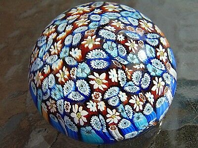 """Vintage Murano Art Glass Paperweight Colorful Complex colorful Millefiori 2 1/2"""""""