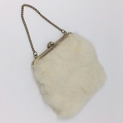 Vintage Genuine White Rabbit Fur Hand Bag Clutch Gold Chain Deco 20s 30s 40s 50s