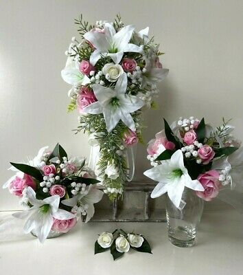 White Lily Flower Wedding Bouquet - Flowers Healthy
