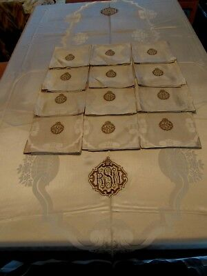 "Antique 1920-40 Satin Damask Tablecloth 67 X 113"", 12 Napkins 24"", Monograms"