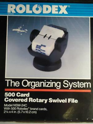 Vtg NEW Rolodex Organizing System 500 Card Rotary Swivel File Black Unused