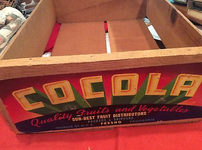 Nice Wood Cocola Fruit/Veg. Crate Fresno CA. With Label