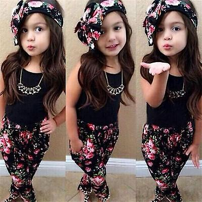 3pcs Toddler Kids Baby Girls Tops + Floral Pants + Headband Outfits Set Clothes