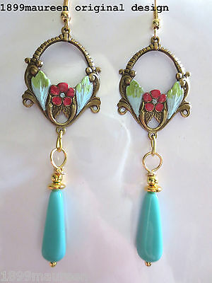 Art Nouveau Art Deco earrings turquoise aqua 1920s Edwardian vintage style drop