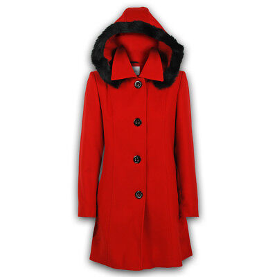 Ladies Coat Womens Jacket Wool Look Faux Fur Button Long Hooded Fashion Warm New