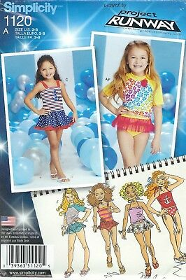 Simplicity 1120 Girls' Mix and Match Swimsuits 3 to 8  Sewing Pattern
