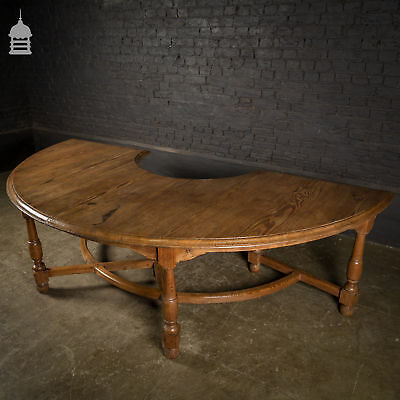 19th C Pitch Pine D-End Table with Turned Legs and Curved Stretchers