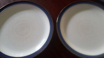 "2 x Denby Imperial Blue Dinner Plates - 10.25"" - Used - Cutlery marks in centre"