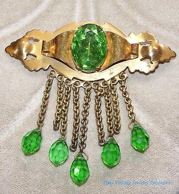 Vintage Antique Art Deco Brass Green Czech Glass Pin with Dangles