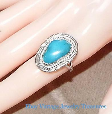 Vintage Turquoise Sterling Silver Ring Size 6