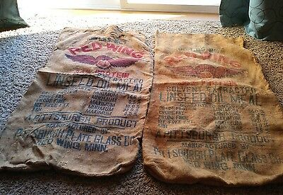 2 Red Wing Feed Sacks 100 lb net Red Wing Minnesota
