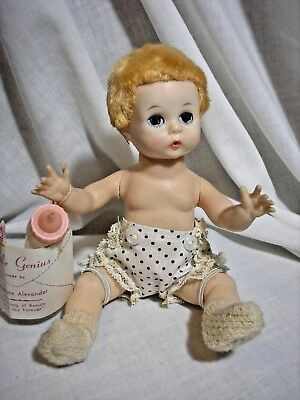 Vintage Madame Alexander Little Genius Doll W Tags & Bottle 1950's