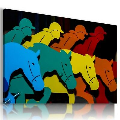 Horse Racing Abstract Modern Print Canvas Wall Art Picture Large Ab680 X