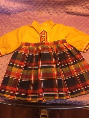 Vintage Baby Girls Toddler Traditional Holiday Folk Dress Smocked Tie 1960s