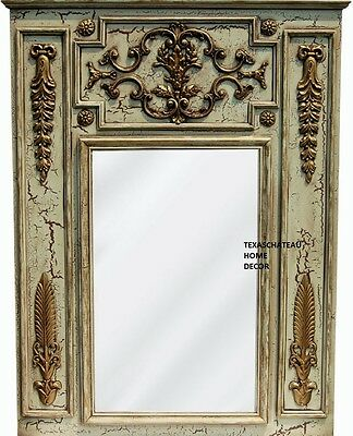 Large Ornate Antique Cream Gold Trumeau Mirror French Regency Vintage Style New