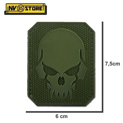 Patch in PVC SKULL Teschio Punisher 7,5 x 6 cm Militare Softair Velcrata Green