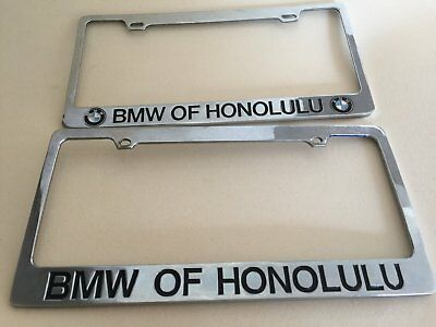 2 Two Bmw Chrome Solid Brass License Plate Frame Old Style Roundel Rare Vintage