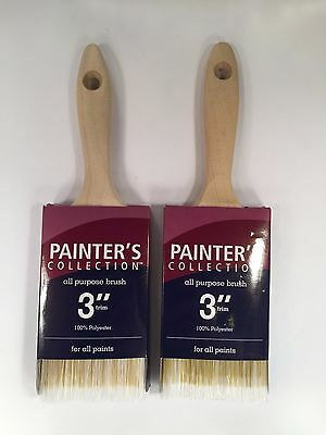 Paint Brush 3 Inch - 100% Polyester - For All Paints - 2-Count