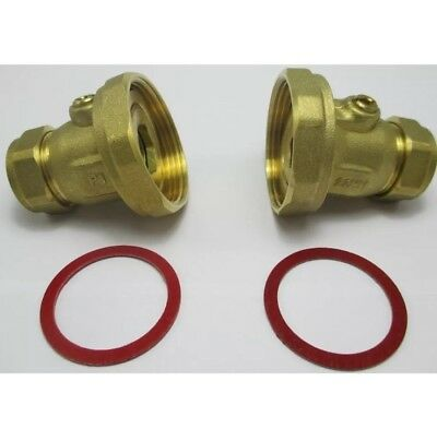 BALL TYPE PUMP VALVE 22mm x 1.1/2'' BRASS COMPRESSION CENTRAL HEATING PAIR  2