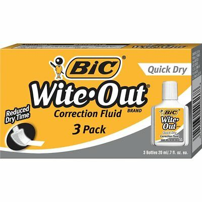 BIC Wite-Out Quick Dry Correction Fluid - Whiteout - 20ml Bottle, 3 Pack