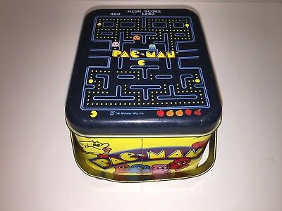 Vintage Pac Man Lunchbox by Midway 1980 2 Handle Carry Tin Metal Pacman