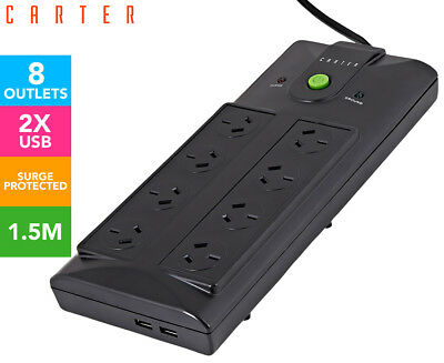 Carter 8-Outlet Surge Protected Power Board w/ Dual USB - Black