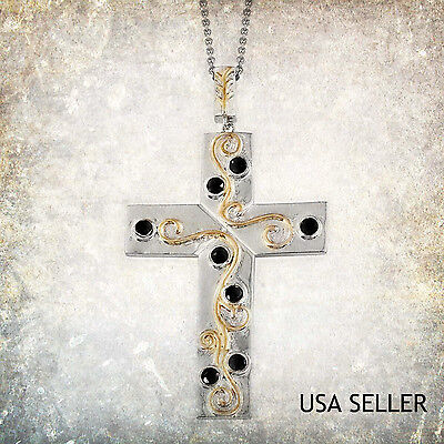 TGW 1.250 cts. Black Sapphire Cross  ION Plated YG and Stainless Steel w/Chain