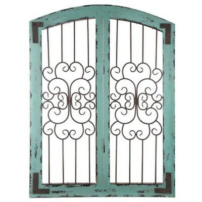garden gate wall decor. turquoise metal and wood wall decor shabby chic rustic country garden gate