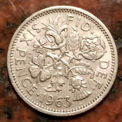 1963 GREAT BRITAIN Six Pence (Wedding Good Luck Coin) - #1451