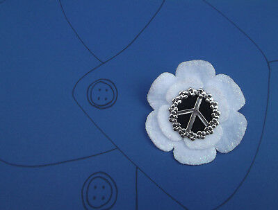 White PEACE Poppy Brooch Corsage Buttonhole Pin  VE DAY  REMEMBRANCE  FUNERAL