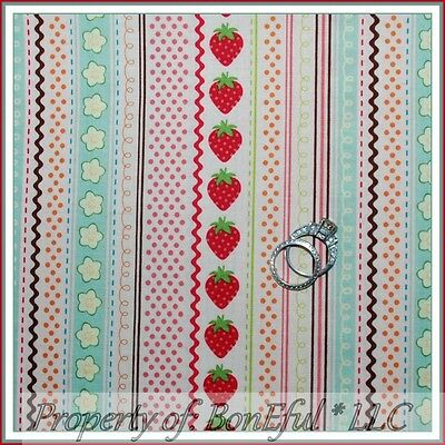 BonEful FABRIC FQ Cotton Quilt Strawberry Pink Farm Flower Ric Rac Dot US Stripe