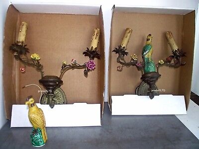 PR 1920's MAJOLICA PARROT BRASS WALL SCONCES w/ ENAMELED BLOOMS PARCHMENT SHADES