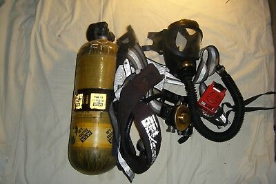 MSA Ultralite II Air Mask w/Air Cylinder Tank Fire Fighter Equipment  **√6606**