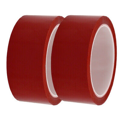 2 Pcs 40mm Wide 50 Meters Long PET Self Adhesive Electrical Insulation Tape Red