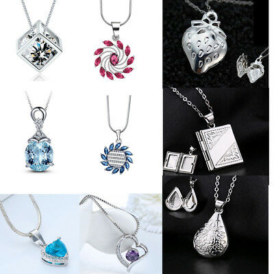 Fashion Jewelry 925 Silver Filled Heart Pendant Chain Necklace Crystal Charm
