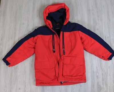 Lands' End Hooded Winter Coat Light Red And Navy Fleece Lined Little Boys Size S