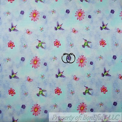 BonEful Fabric FQ Cotton Quilt Purple Pink White Small Flower Bunny Humming*Bird