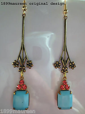 Art Nouveau Art Deco earrings vintage blue rose crystal drop long 1920s style