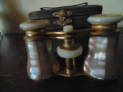 Antique Opra Glasses Mother Of Pears Brass With Original Leather Case Paris Late