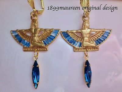 Egyptian Revival Art Deco earrings crystal blue vintage style Art Nouveau drop