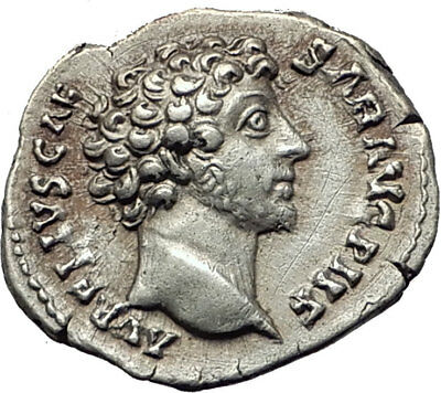 MARCUS AURELIUS 144AD Rome Authentic Ancient Silver Roman Coin HONOS i65251