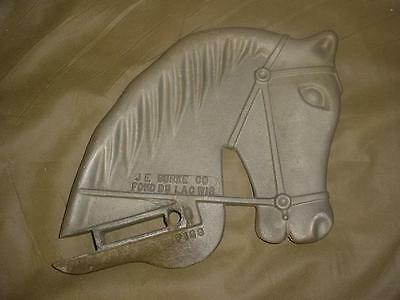 Vtg Antique J E Burke Co Cast Aluminum Horse Head Playground Ride