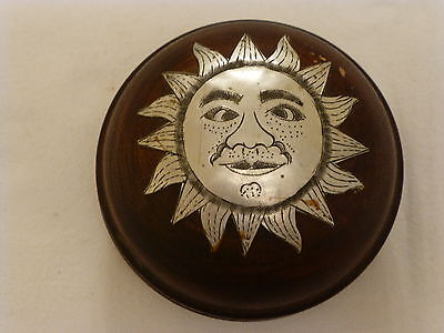 Vintage Hand Turned/tooled Round Wooden Trinket Pot With Silver Metal Lid Sun