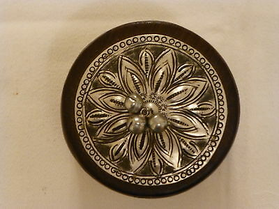 Vintage Hand Turned/tooled  Wooden Trinket Pot With Silver Metal Lid With Bells